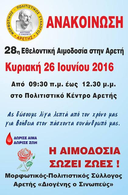 Την 27η Εθελοντική Αιμοδοσία πραγματοποιεί ο Σύλλογος Αρετής «Διογένης ο Σινωπεύς»