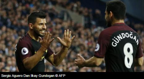 Sergio Aguero dan Gundogan   West Bromwich Albion vs Manchester City: 0 - 4