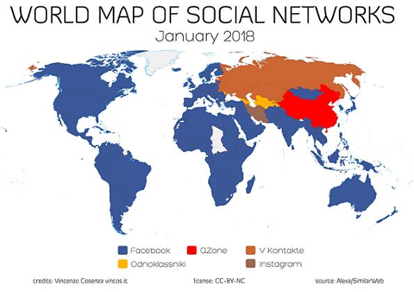 Mapa mundial de las Redes Sociales más populares por país