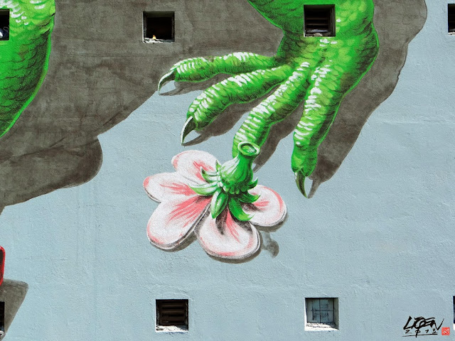 """Iguana Cuatro"" New Street Art Mural By Liqen For Los Muros Hablan 2013 in San Juan, Puerto Rico. 4"