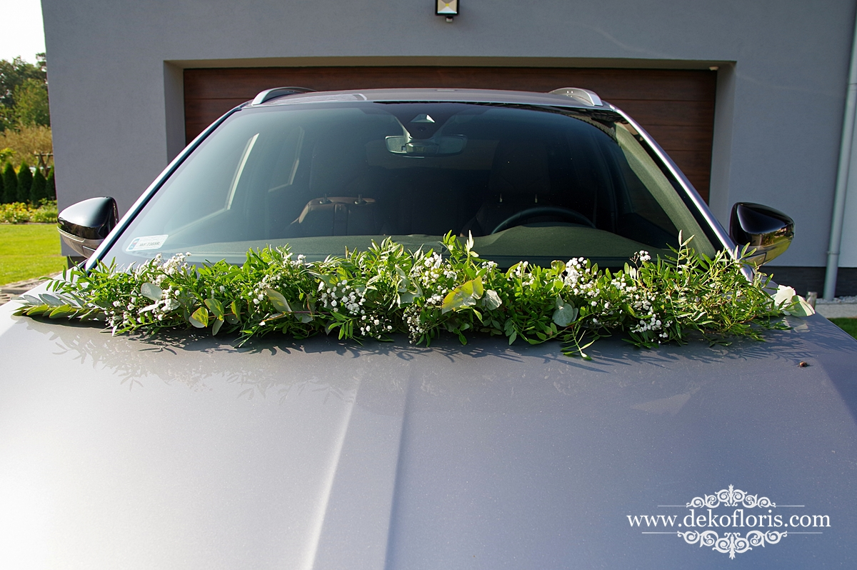 Dekoracja ślubnego samochodu Młodej pary Strzelce Opolskie