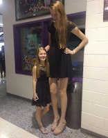 It is unusual to see a very tall woman