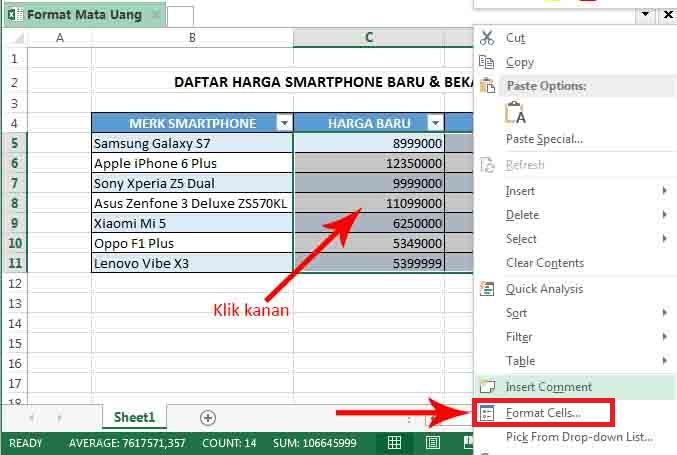 Cara Membuat Format Mata Uang Rp Di Microsoft Excel Komputer Tutorials