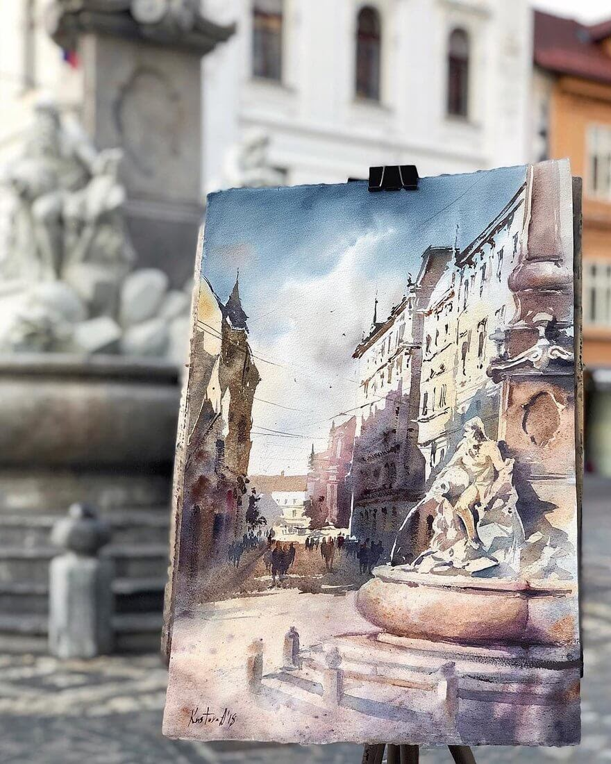03-Ljubljana-Fountain-Anastasia-Kústova-Architectural-Watercolor-Paintings-En-Plein-Air-www-designstack-co