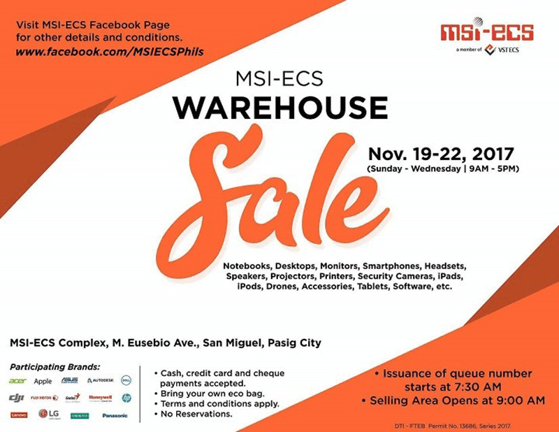 MSI-ECS is holding a warehouse sale on November 19 - 22