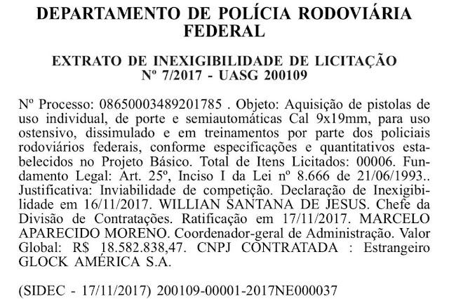 POLÍCIA RODOVIÁRIA FEDERAL IRÁ ADQUIRIR PISTOLAS GLOCK