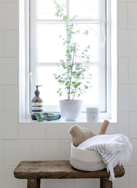 Minimal modern slow living white bathroom by Tine K - found on Hello Lovely