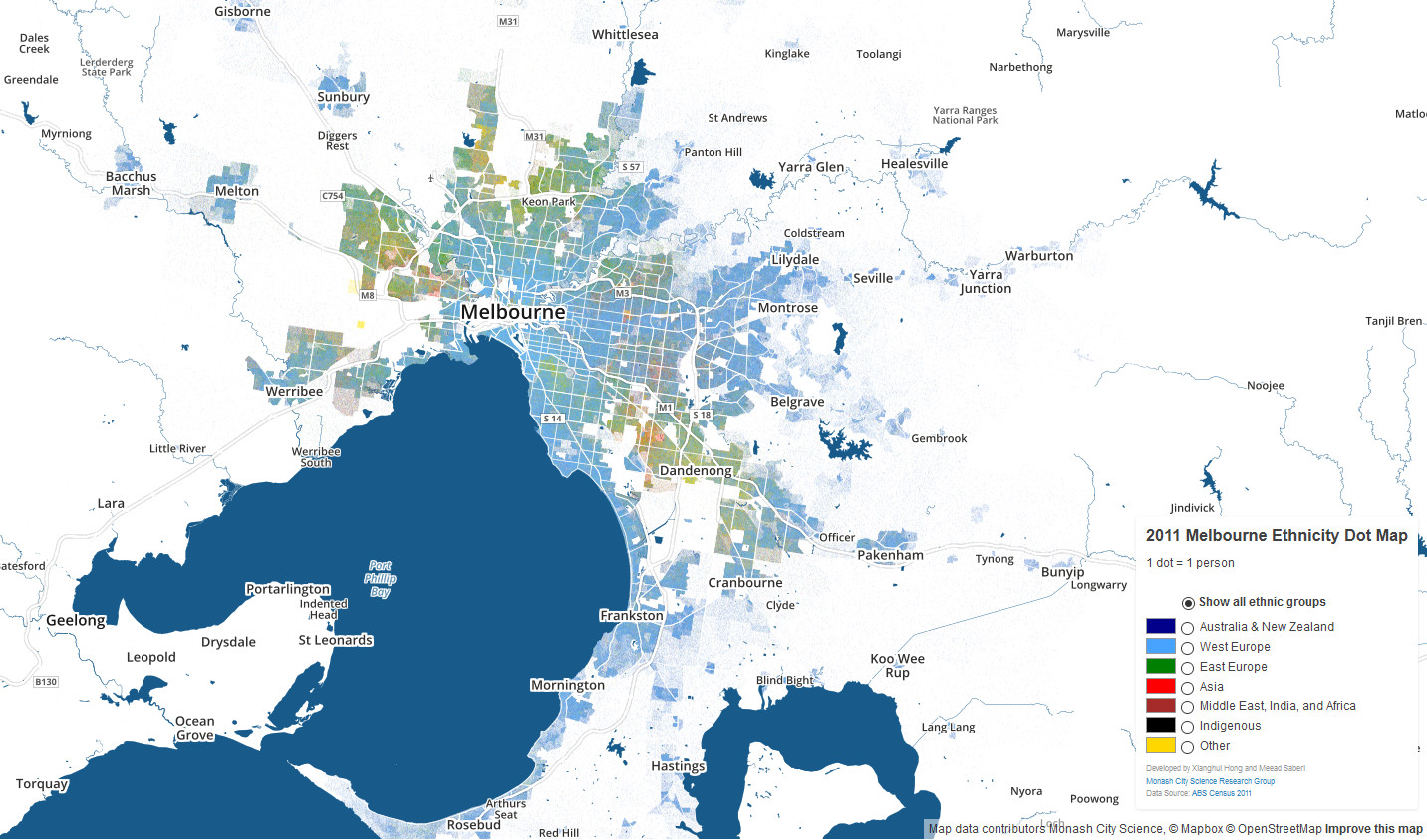 Melbourne ethnicity map