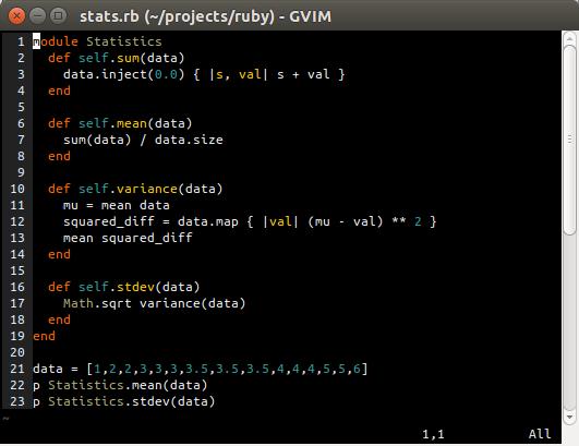 Ruby code listing in gvim