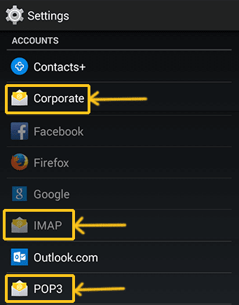 Setting Accout Corporate IMAP POP3