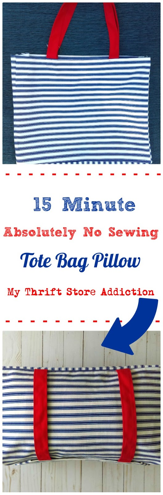 15 minute no sew tote bag pillow