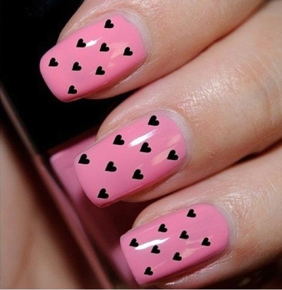 Pink Black Heart Nail