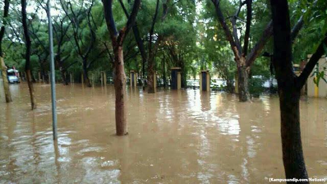 Banjir Undip jalan FEB kampusundipcom
