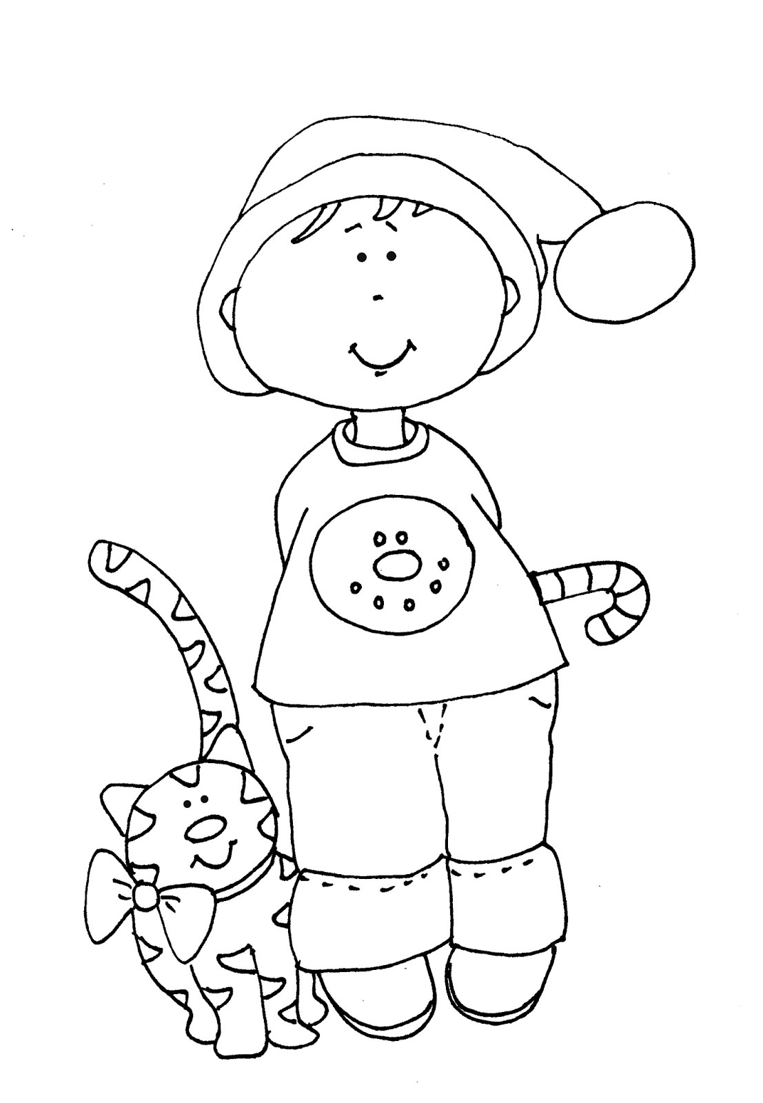 Free Dearie Dolls Digi Stamps: Candy Cane boy with Cat