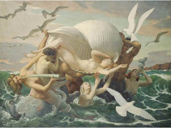 The birth of Venus. (Aphrodite) Oil on Canvas.   John Bulloch Souter.(1890-1972)