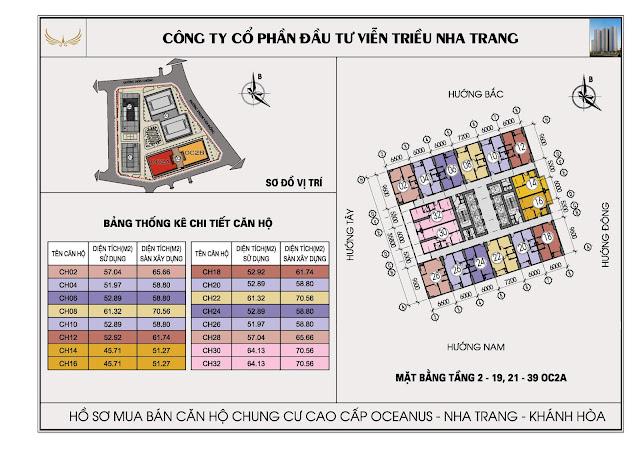 Mặt bằng tổng thể tòa OC2A Viễn Triều Nha Trang