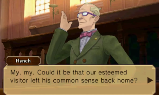 Prosecutor Flynch English London court Layton vs. Phoenix Wright Ace Attorney left his conmmon sense back home