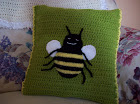 CROCHET & KNIT BEE CUSHION.