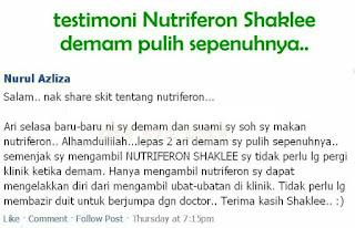 Testimoni Nutriferon rawat demam tanpa ubat