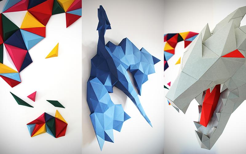Oggetti tridimensionali realizzati in carta per decorare fai da te la tua casa