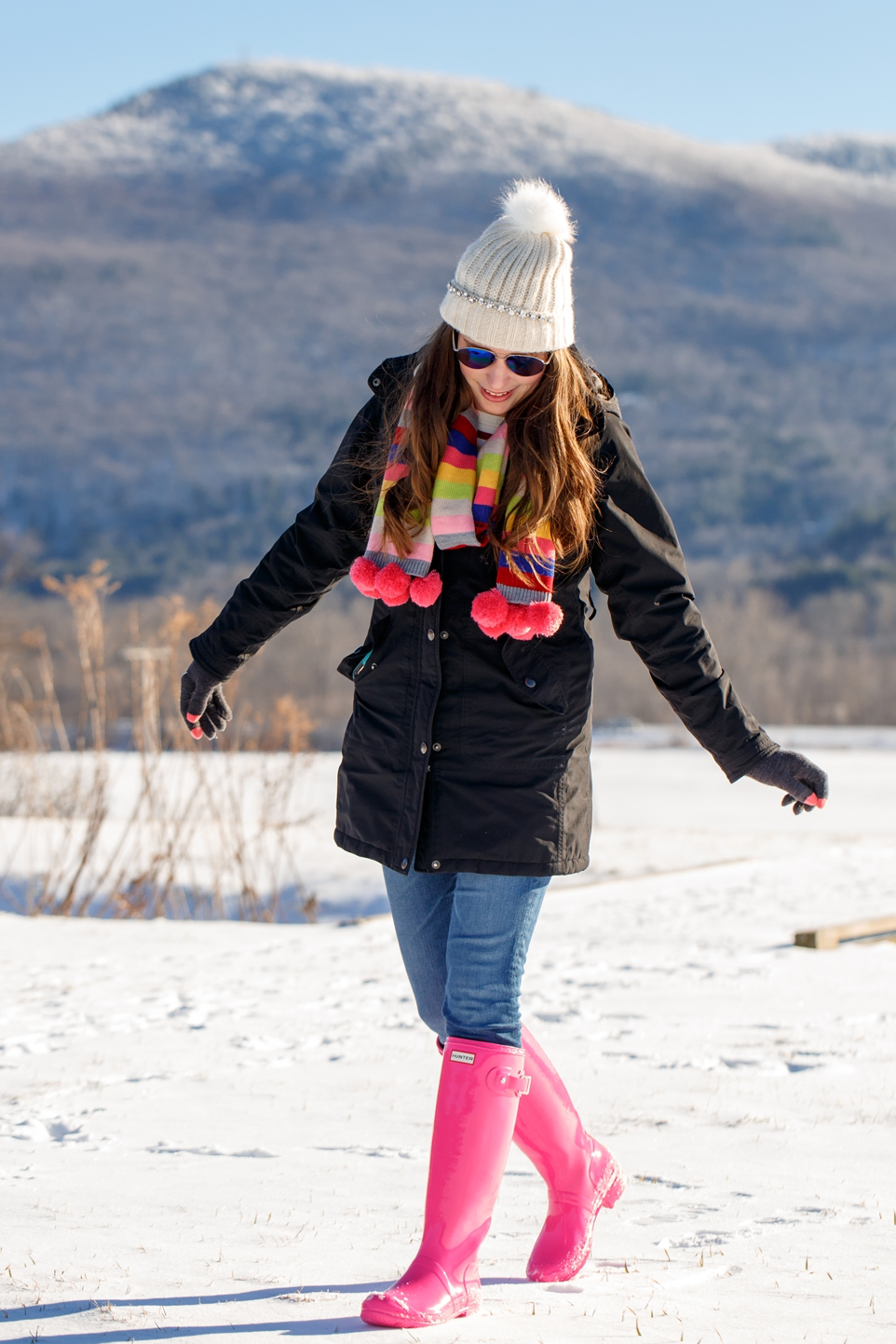 Preppy Winter Outfit Colorful Scarf