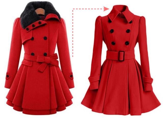 płaszcz, retro, czerwień