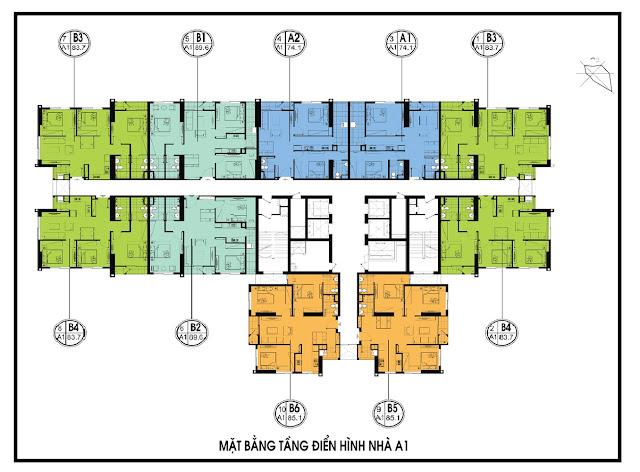 Mặt bằng tầng điển hình tòa A1 dự án An Bình City