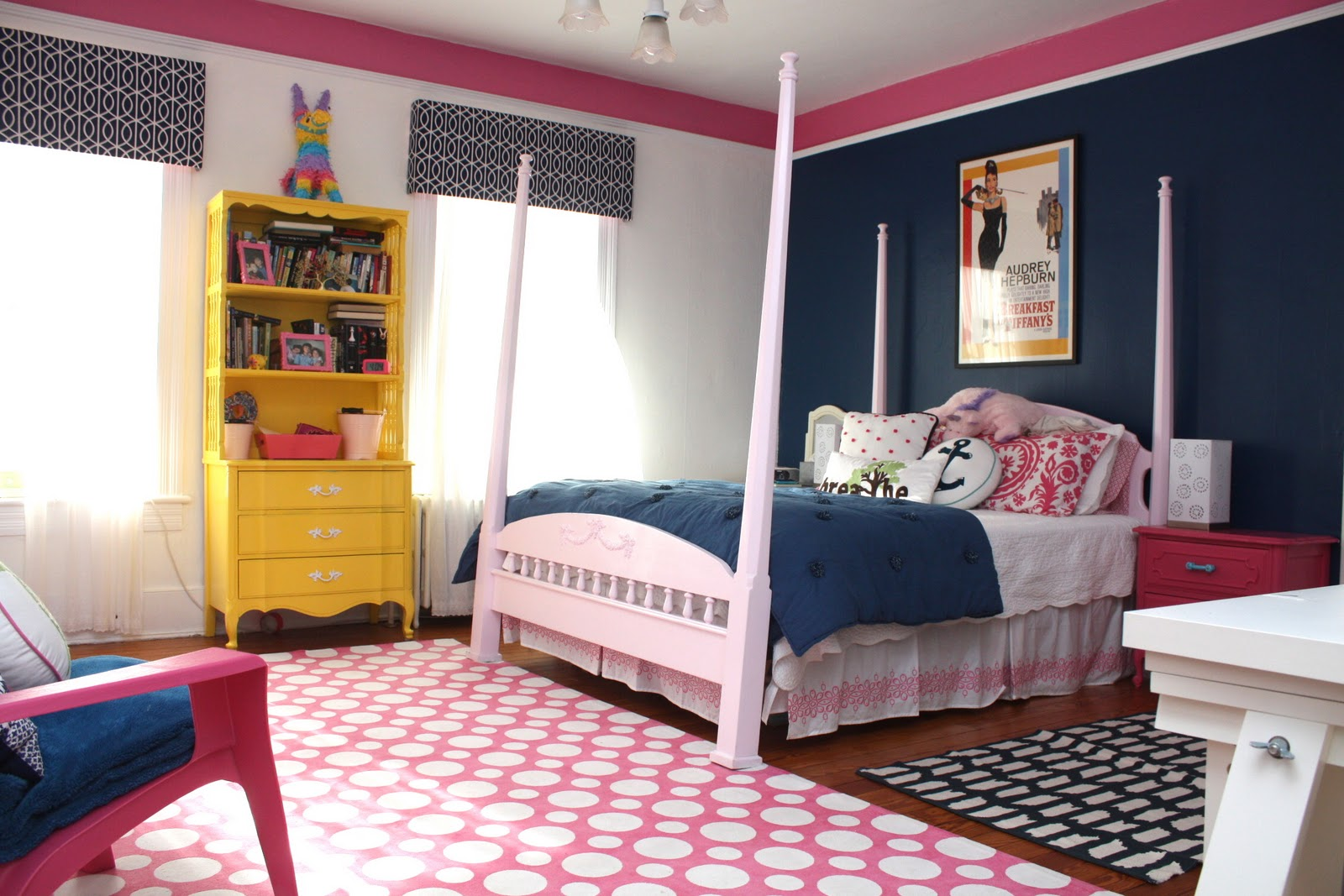 My Old Country House Navy And Pink Teen Girl Room