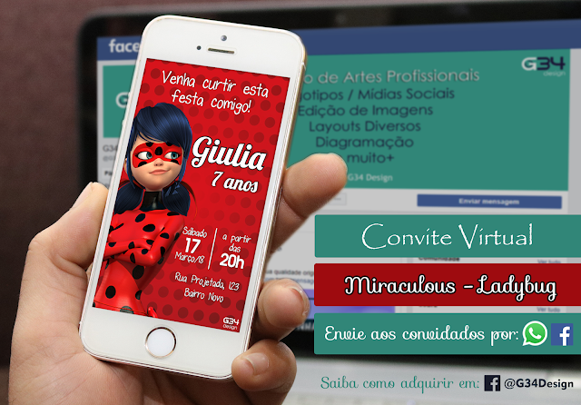 Convite Virtual Miraculous Ladybug Whatsapp Facebook