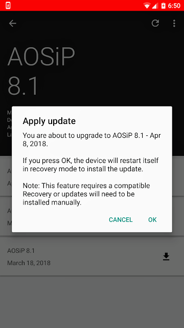 Mi Update: AOSiP-8 1-Official-mido-20180409 ROM