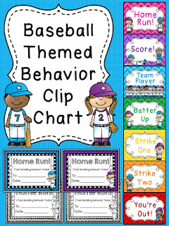 Baseball behavior chart for sports theme classroom a bunch of other fun behavior clip charts!