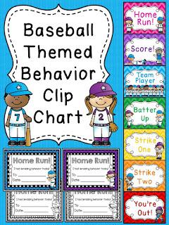 Baseball behavior chart for sports theme classroom a bunch of other fun behavior clip charts!