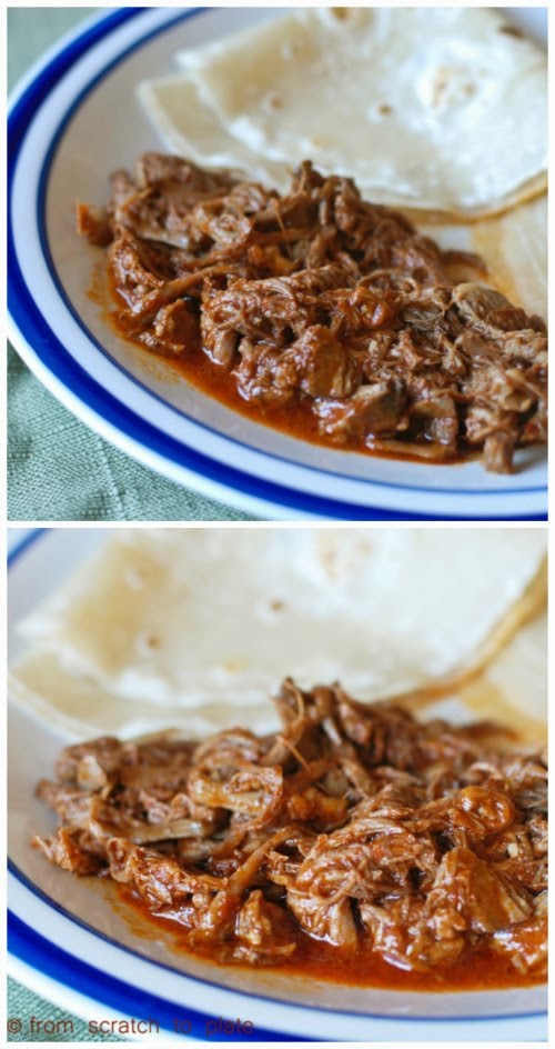 Slow Cooker Red Chile Beef (with homemade red chile sauce) by From Scratch to Plate found on SlowCookerFromScratch.com