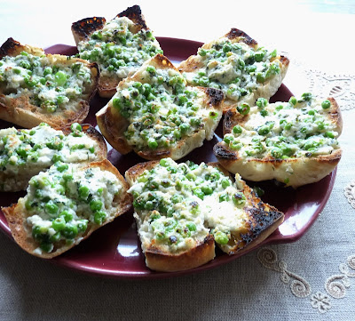 Green Garlic & Pea Bruschetta with Chevre