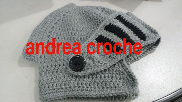 andrea croche handmade  gorro gladiador ou medieval em croche com ... bca2b4bea05