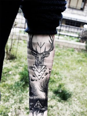 Amazing Leg Deer Tattoo Designs
