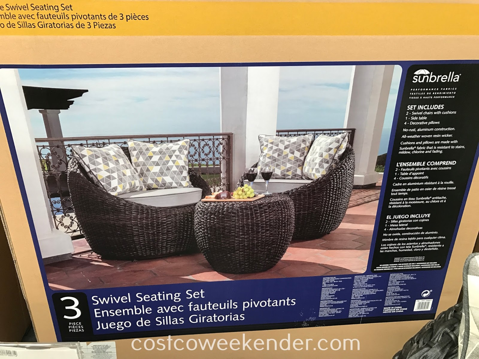 3-piece Swivel Balcony Seating Set: perfect for your next outdoor get-together
