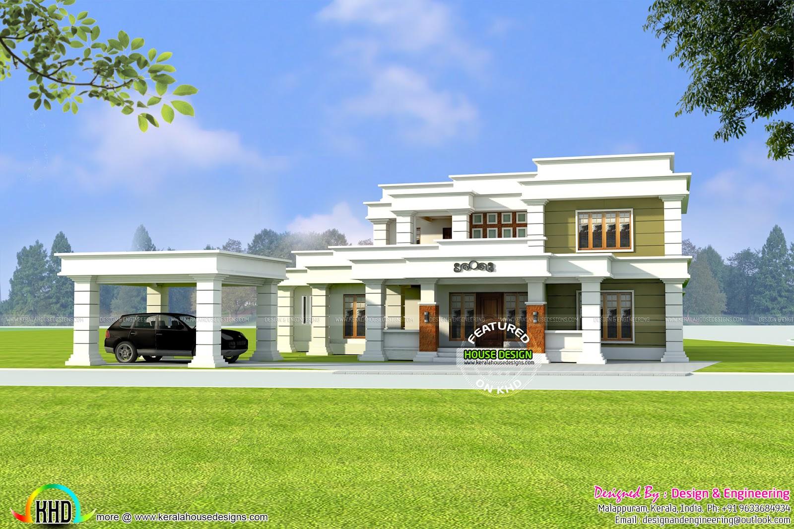 Decorative Flat Roof : Sq yd decorative flat roof home kerala design