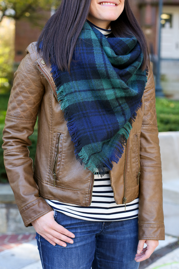 what to wear with a plaid blanket scarf for fall
