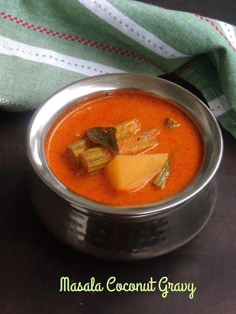 Masala coconut gravy, thenga aracha kuzhambu