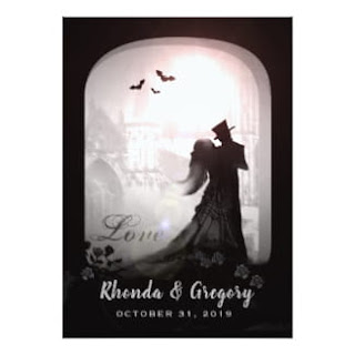 Halloween Love Romantic Gothic Square Wedding Invitation