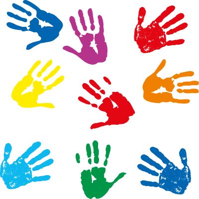 Pintadas con palmas de ni os vector vector clipart - Ninos pintando con las manos ...