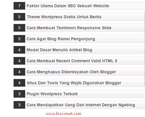 Cara Buat Widget Most Commented