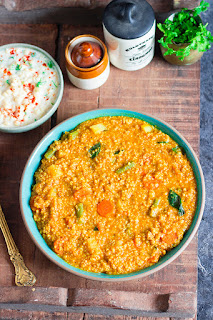 millet cooked with lentils, vegetables and spices