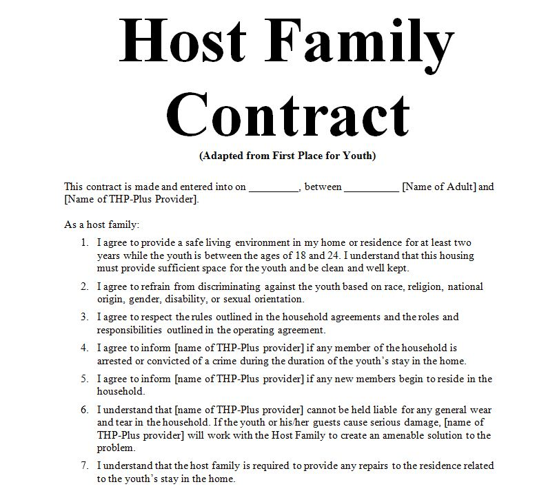 6 Examples Of Host Family Agreement Contract Word Doc