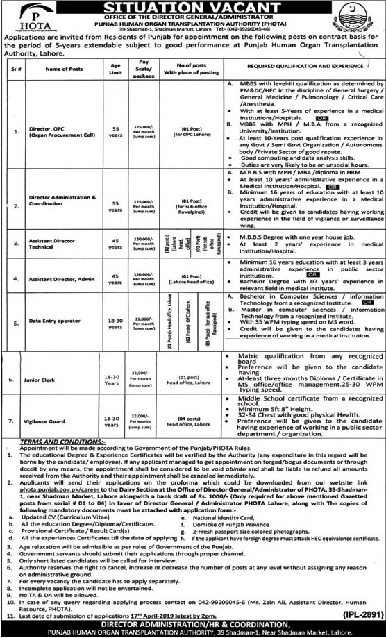 Jobs In Punjab Human Organs Transplantation Authority PHOTA 31 Mar 2019
