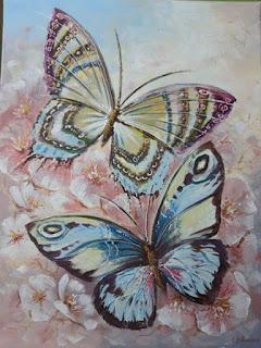 Картина, Бабочки в цветах, 30х40см.