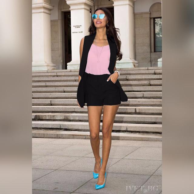 Γυναικείο μαύρο με ροζ σύνολο CANDICE BLACK