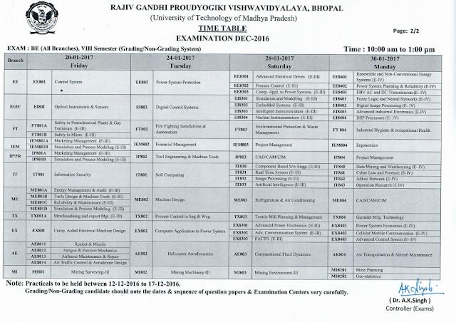 RGPV B.E 8th Semester Examination Time Table 2017