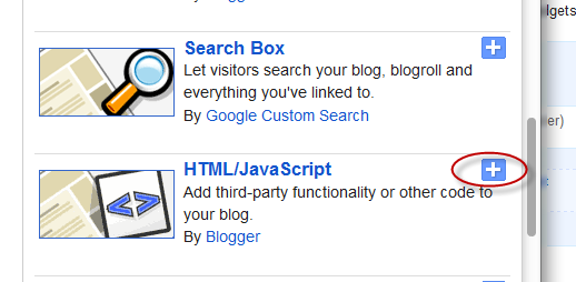 html javascript widget, blogger gadgets